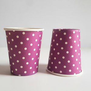Purple Polka Dots colourful party cups