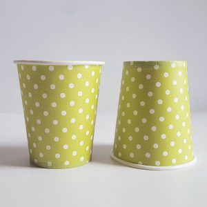 Lime Green Polka Dots colourful party cups