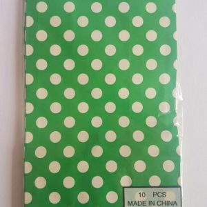 Colourful polka dot party bags, Green.