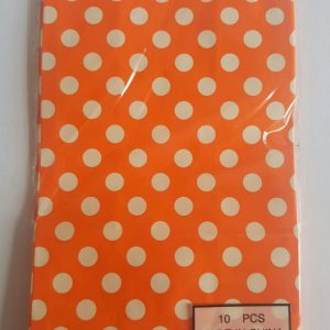 Colourful polka dot party bags, Orange.