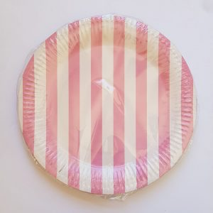 Pink Stripes colourful party plates