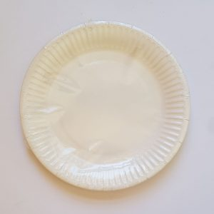 White colourful party plates