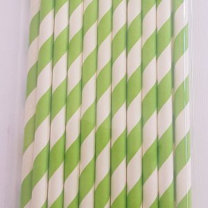 Green Stripes colourful party straws