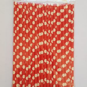 Red Polka Dots colourful party straws