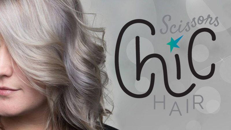 model hairstyle and chic scissors hair logo
