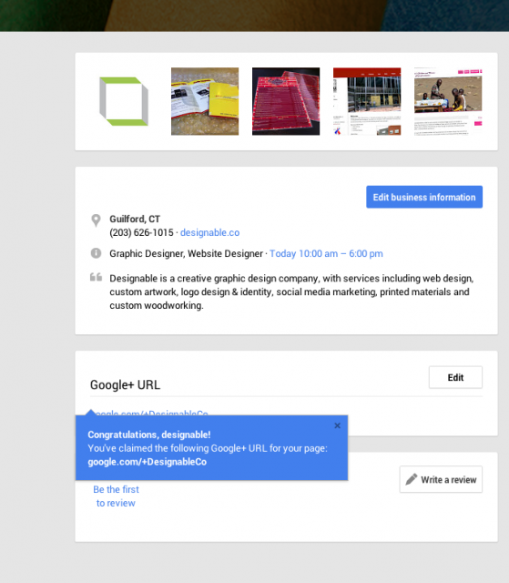 google plus custom url screenshot