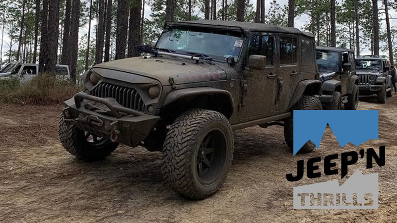jeep'n thrills logo superimposed over an image of jeep vehicles in the woods