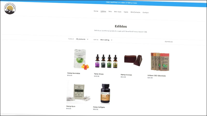 natures nomad website edibles products screenshot