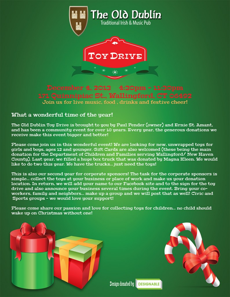 The Old Dublin Toy Drive flyer artwork