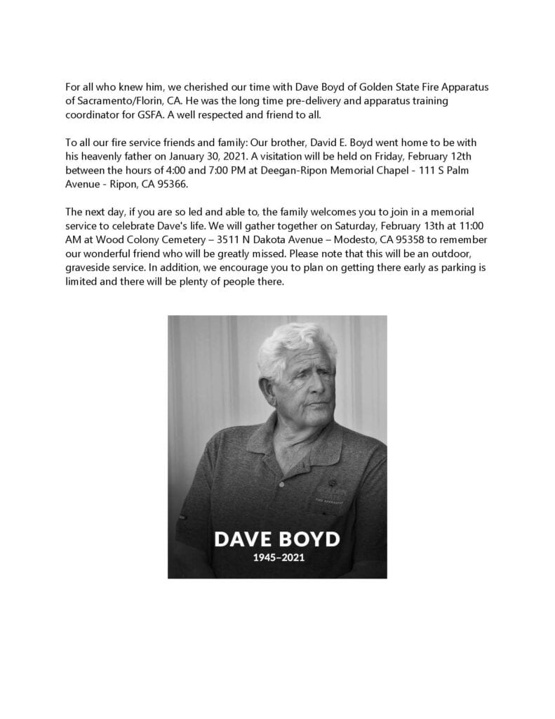 Dave Boyd - Funeral Info