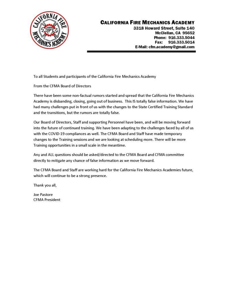 CFMA false info letter