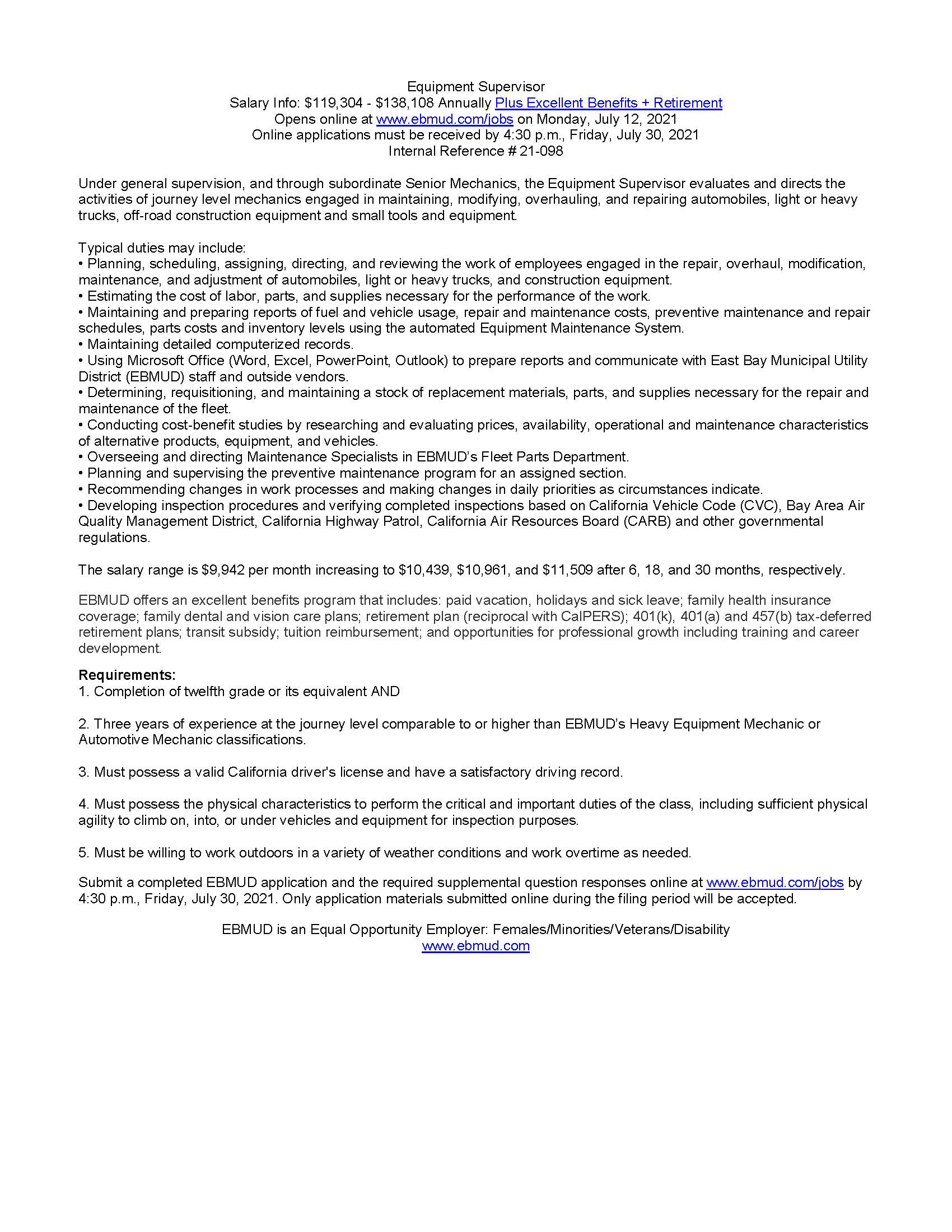 Equipment Supervisor Job Posting