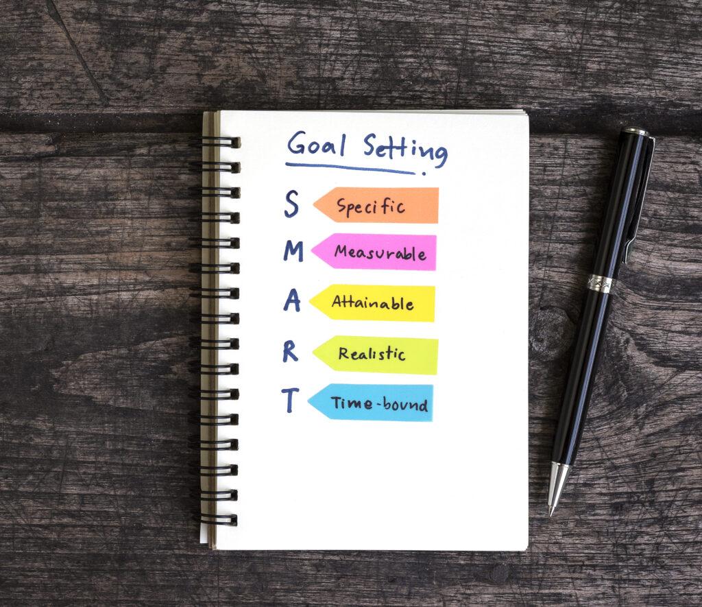 Smart Goals written in a notebook
