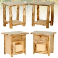 Rustic Arts Aspen Log Night Stands and End Tables