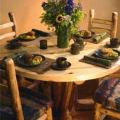 Rustic Log Round Table with Stump Base