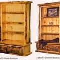 Aspen Log Bookcases with Drawers