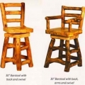 Aspen Log Bar Stools with Backs, Swivels and Arms