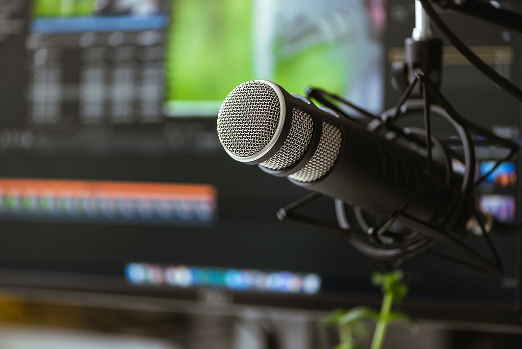 Microphone in the foreground