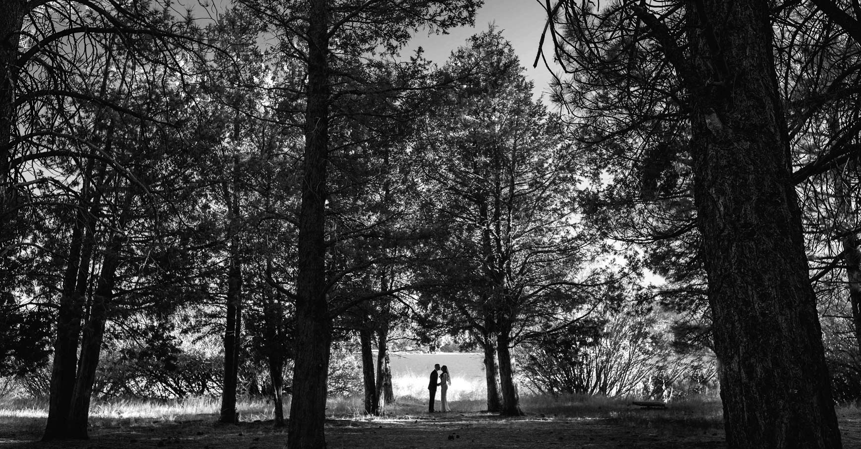 Alan Heidi Couple black white silhouette mountain elopement bride groom
