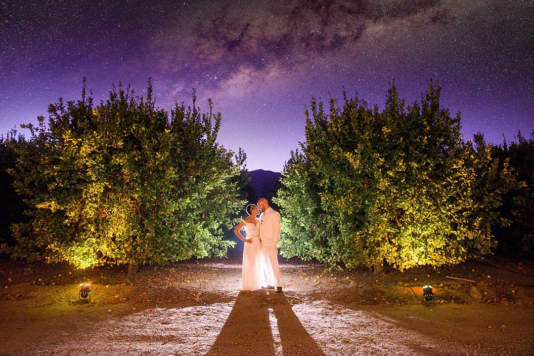 Alan & Heidi nighttime wedding galaxy