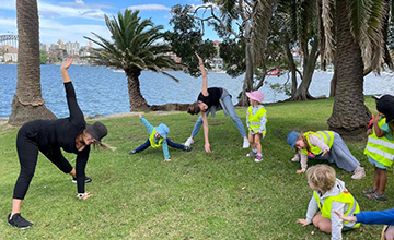 Parents and Children are invited to join us for yoga in the park on the mornings of the last Saturday of the month at our beautiful Parsley Bay.