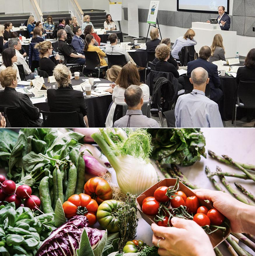 A split image of a speaking event and fresh produce