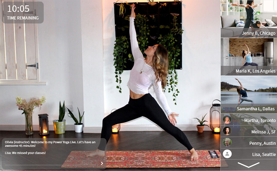 Yoga Instructor Teaching Live & Interactive class through Habitly video app