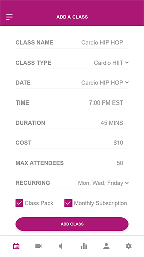 Add classes instantly through Habitly app, with different pricing options