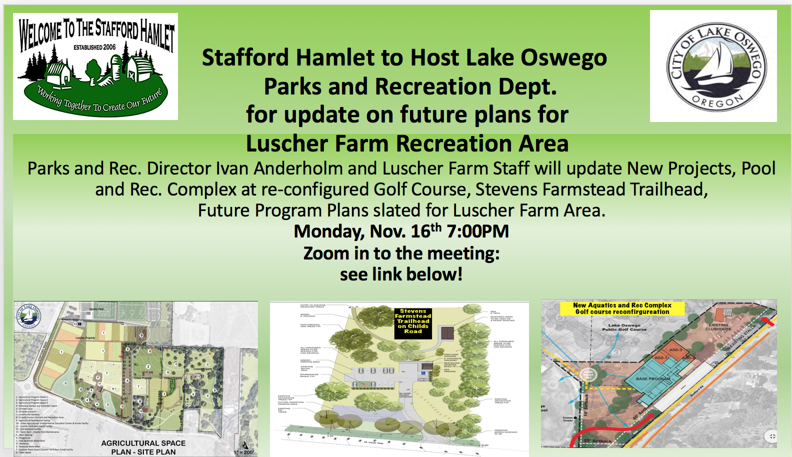 Stafford Hamlet to Host Lake Oswego Parks & Rec Department