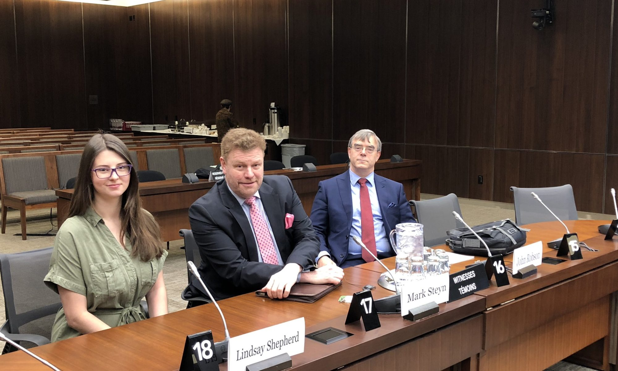 Lindsay Shepherd, Mark Steyn and John Robson before their testimony before the House of Commons' Standing Committee on Justice and Human Rights.