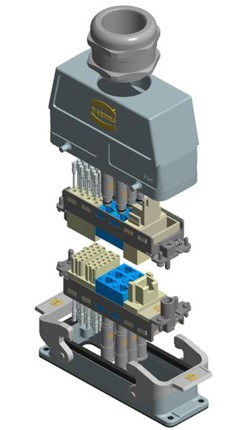 Ethernet and power in harting assembly
