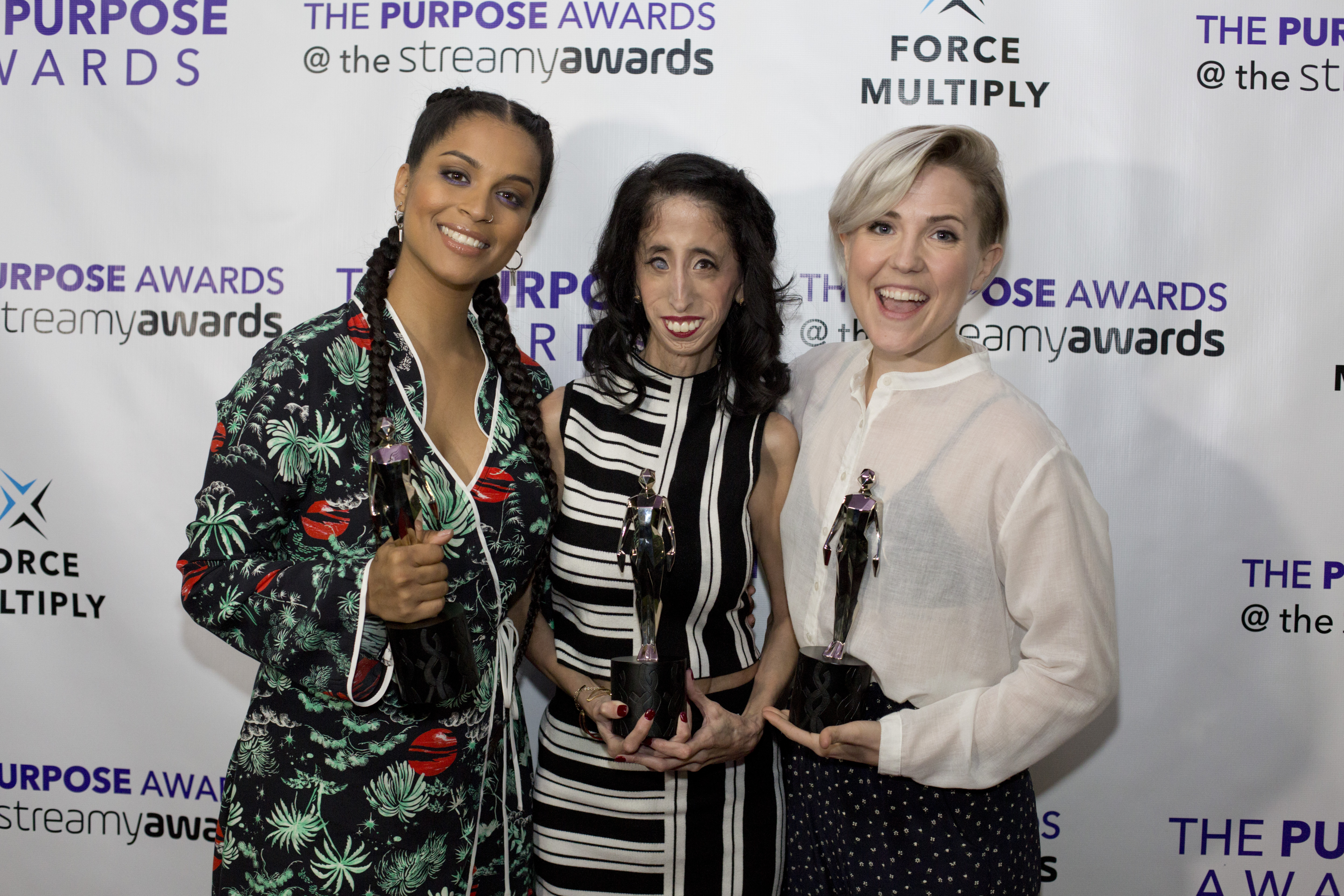 Picture shows Lilly Singh, Lizzy Velasquez and Hannah Hart, at the Purpose Awards @thestreamys, LA Live in Downtown Los Angeles.