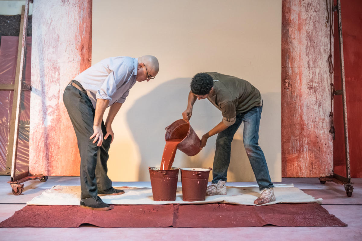 John Logan's Red in rehearsals for Michael Grandage Company. Alfred Molina (Mark Rothko) and Alfred Enoch (Ken) Photo credit Marc Brenner (3)