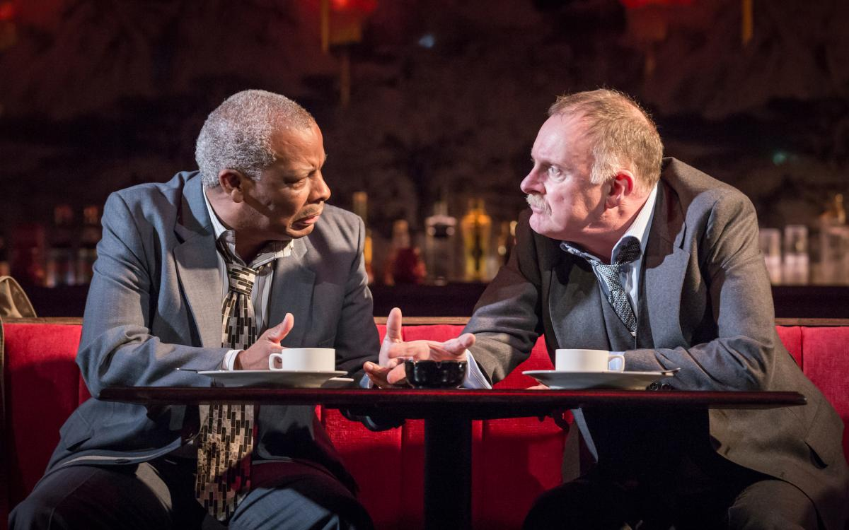 L-R Don Warrington (George Aaronow) & Robert Glenister (Dave Moss) - Glengarry Glen Ross at The Playhouse (c) Marc Brenner-273