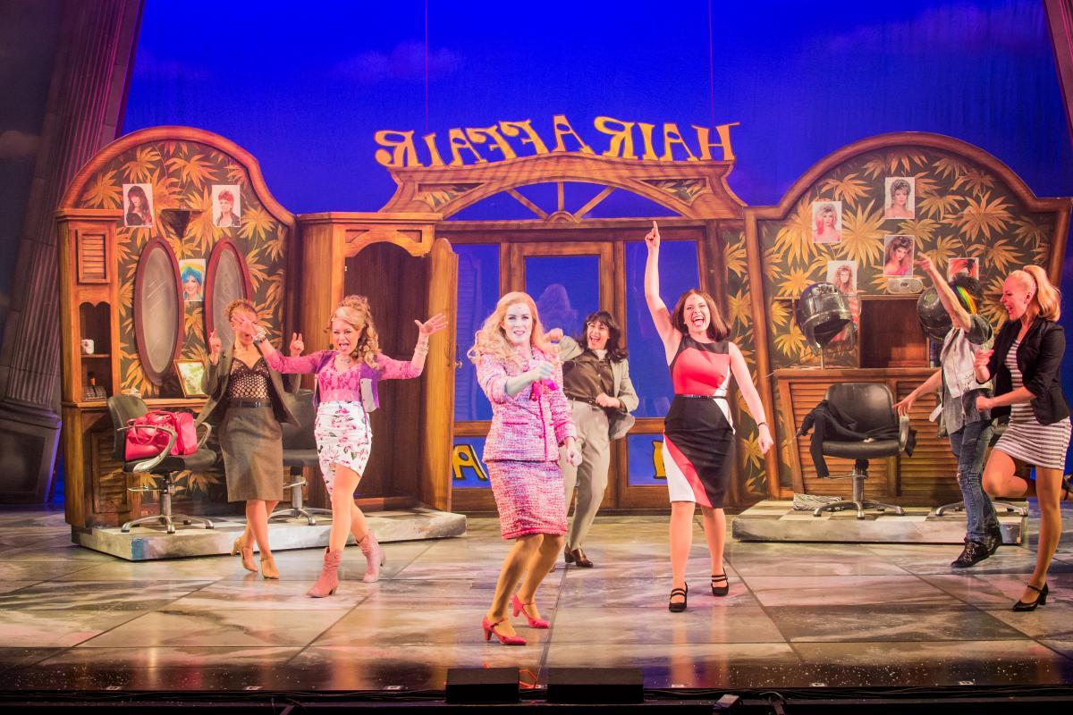 Legally Blonde The Musical 2017-18 Hair Affair 3 Rita Simons 2nd left (Paulette) Lucie Jones centre (Elle) Laura Harrison 3rd from right (Vivienne)