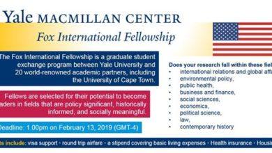 Photo of Yale Fox International Fellowship 2019