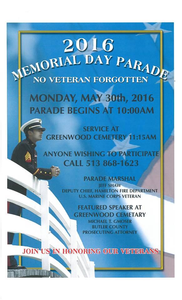 Hamilton Memorial day parade information