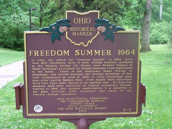 Freedom Summer 1964 Butler County Historical Marker