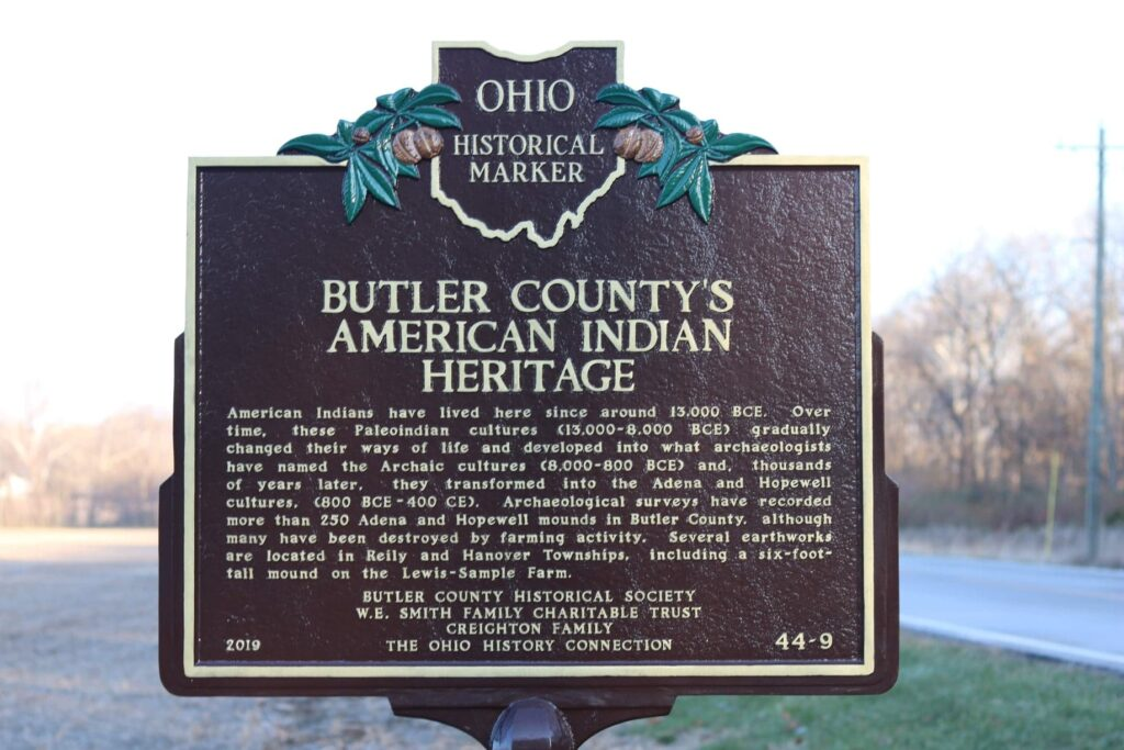 Ohio historical marker Butler County American Indian heritage