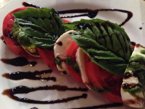 """Duane said, """"Is that chocolate?"""" when he saw the thick balsamic drizzle on my Caprese Salad.  I was too busy eating to answer."""