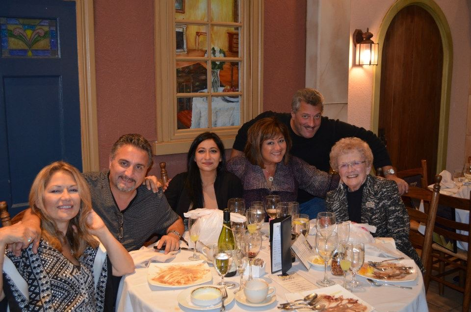 A family birthday dinner for Mom from a few years' back - Tony, Deena, me, Duane and Mom.  Where's David?  We think he had to work that day.