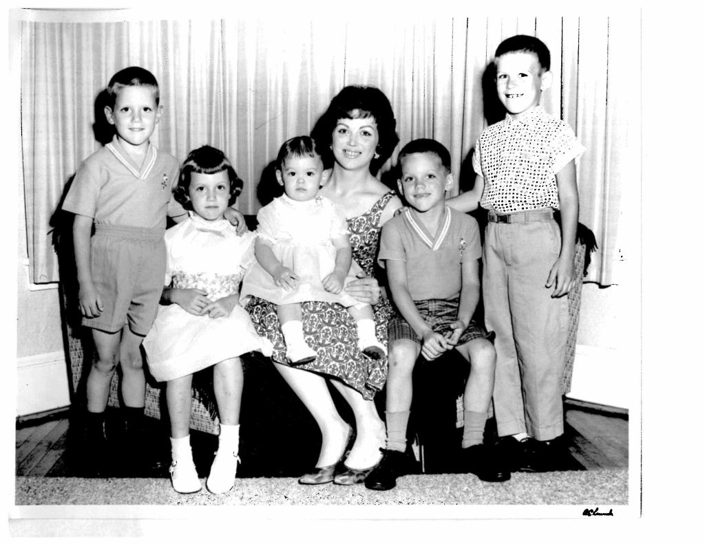There she is, the only Mrs. to ever almost win the Miss Vineland contest, surrounded by her brood of five (from left:  Bruce, Debbie, Kimmy, Eddie and Johnny).
