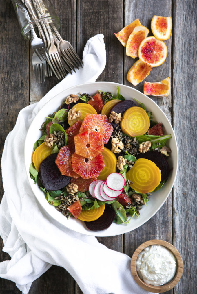Wild Rice Salad with Beets, Oranges & Whipped Ricotta _ Perfect Barbecue Menu