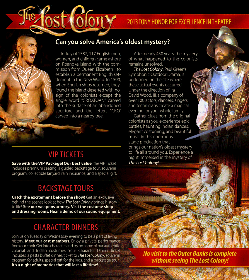 The Lost Colony Rack Brochure inside
