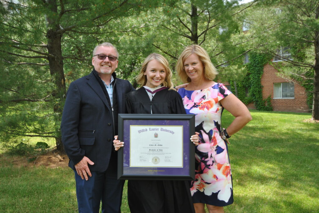 Caley Gibbs '12 (centre) with parents Ed & Colleen Gibbs