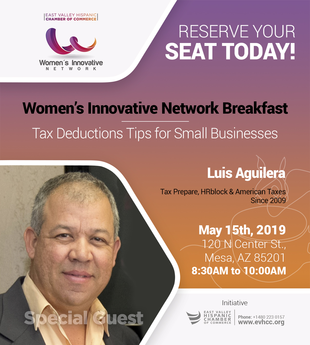 East Valley Hispanic Chamber of Commerce - Women´s Innovative Network Breakfast 05-15-2019