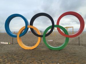 Olympic rings at Copacabana beach