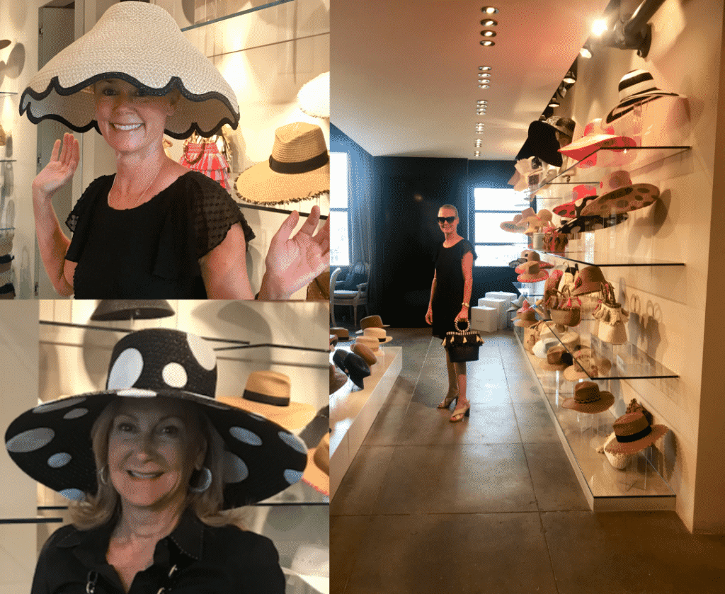 Karen Klopp and Hilary Dick visit the Eric Javits Hat Showroom and try on hats.