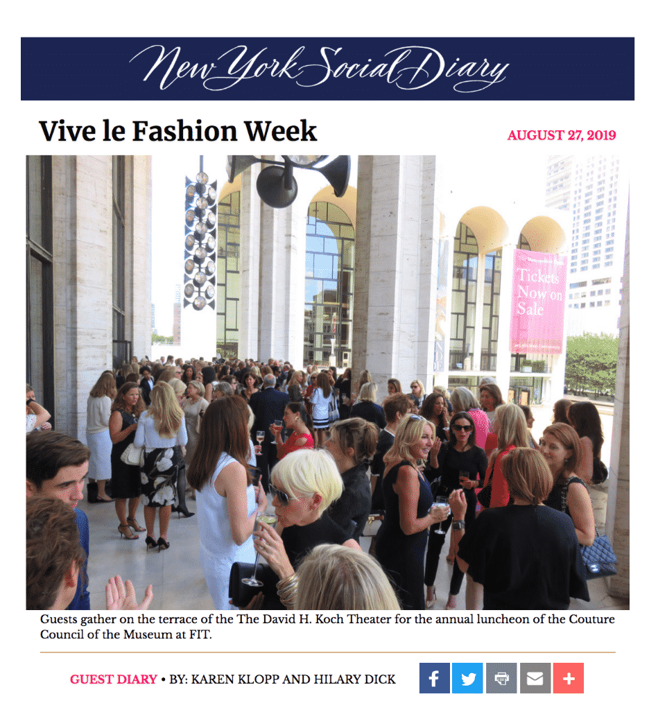 New York Social Diary article Couture Council, Museum at FIT Award Luncheon by Karen Klopp and Hilary Dick