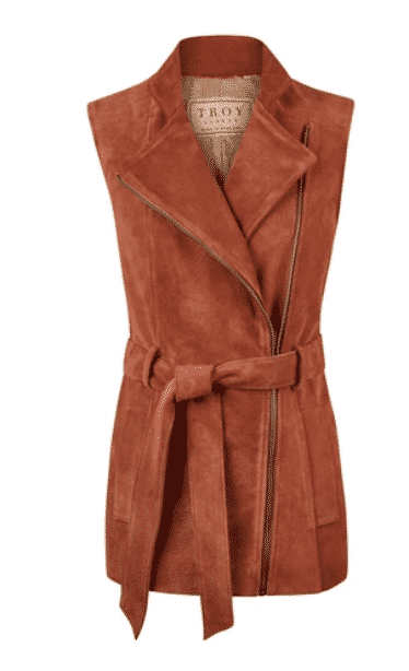 TROY London - by Rosie Van Cutsem . Belted suede Gilet.  what to wear in the countryside.
